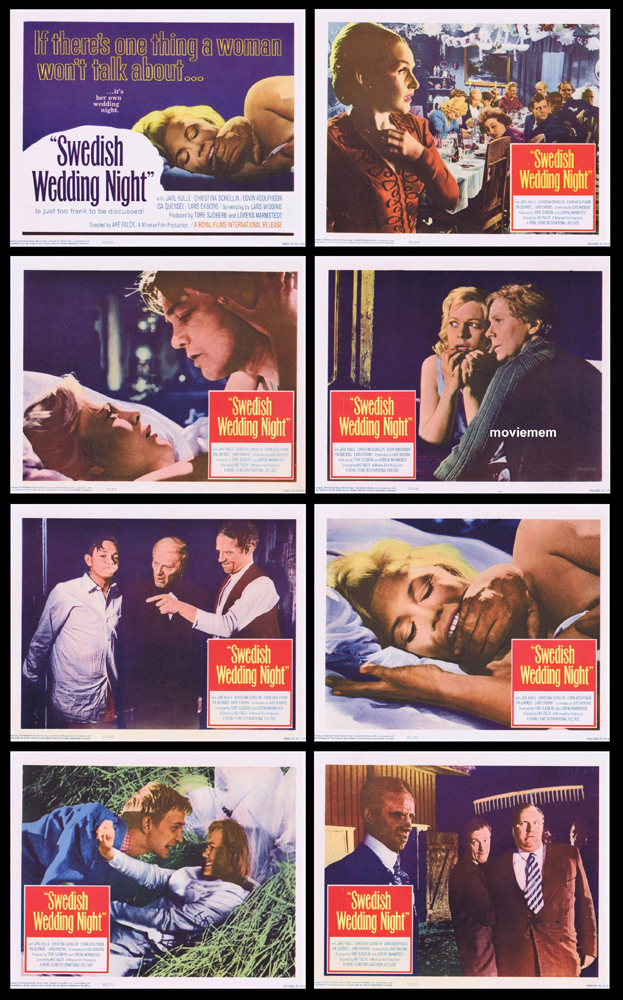 SWEDISH WEDDING NIGHT Original Lobby Card Set Jarl Kulle Christina Schollin
