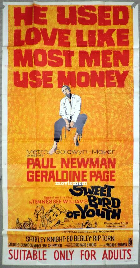 SWEET BIRD OF YOUTH Original 3 Sheet Movie Poster Paul Newman