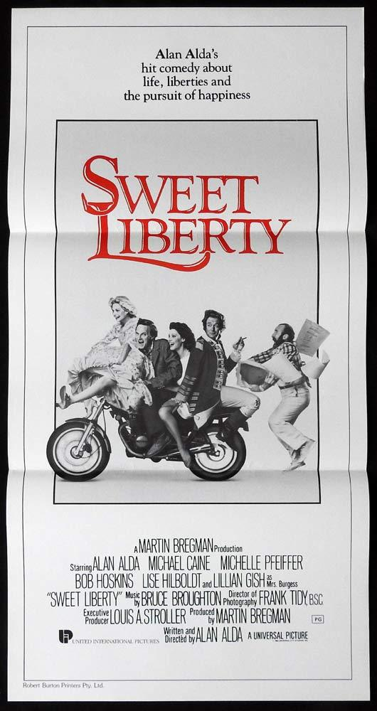 SWEET LIBERTY Daybill Movie poster ALAN ALDA Michael Caine Michelle Pfeiffer