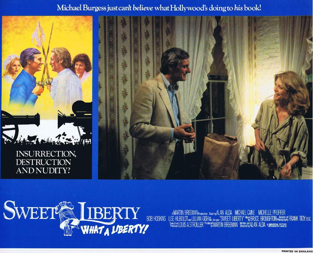 SWEET LIBERTY Original Lobby Card 1 Alan Alda Michael Caine Michelle Pfeiffer