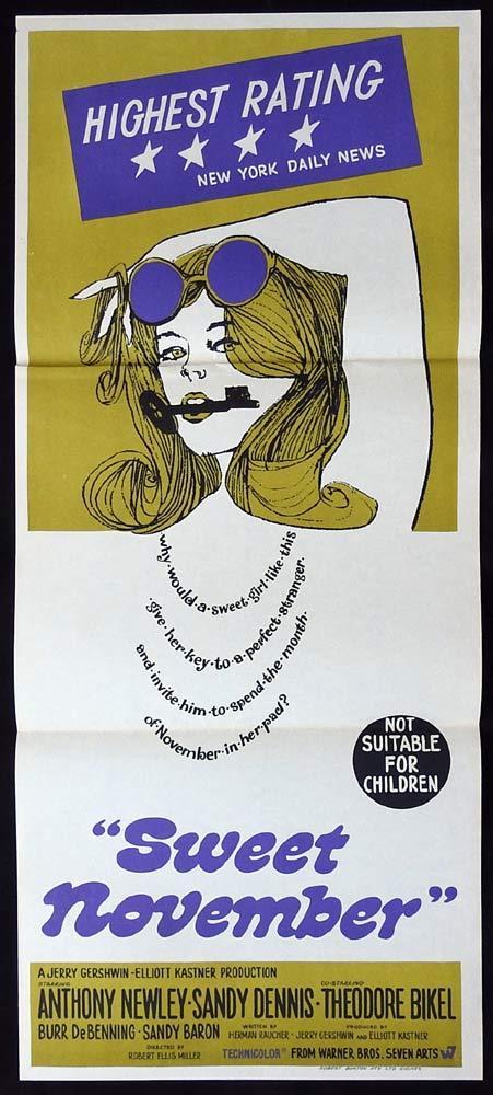 SWEET NOVEMBER Original Daybill Movie Poster Sandy Dennis Anthony Newley