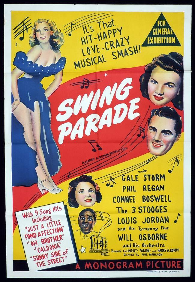 SWING PARADE Original One sheet Movie Poster Gale Storm Phil Regan The Three Stooges