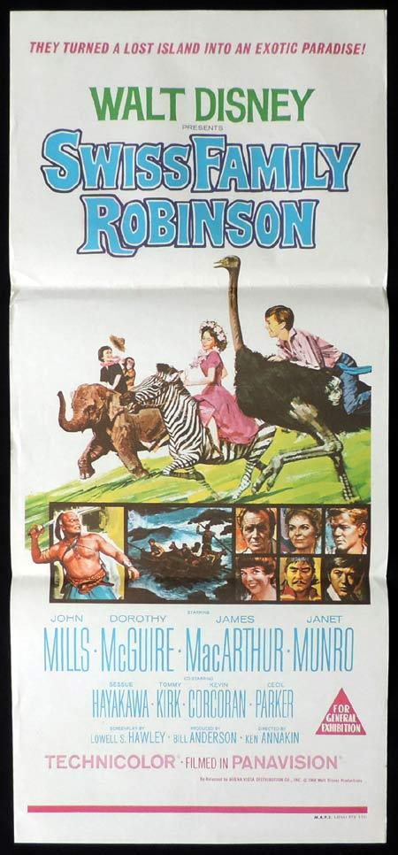 SWISS FAMILY ROBINSON Original Daybill Movie Poster Walt Disney John Mills 68r