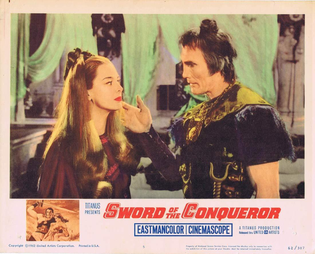 SWORD OF THE CONQUEROR Original Lobby Card 5 Jack Palance Guy Madison
