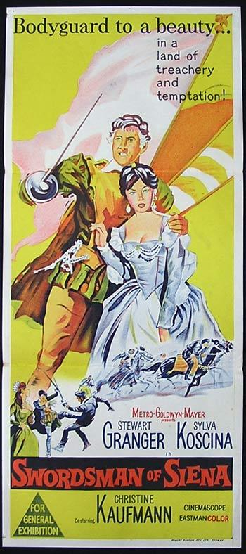 SWORDSMAN OF SIENA Movie Poster Stewart Granger 1962 Australian Daybill