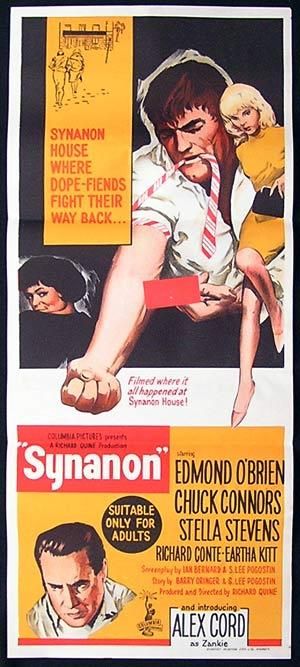 SYNANON Movie Poster 1965 GRAPHIC DRUG USE Rare Daybill