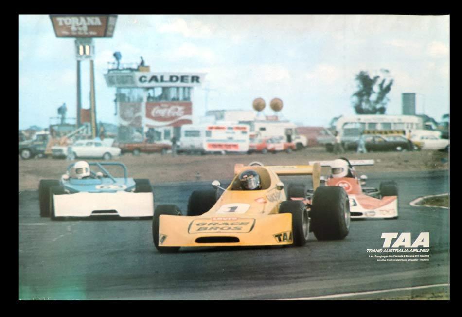TAA CALDER RACEWAY Vintage Travel Poster  c.1960s