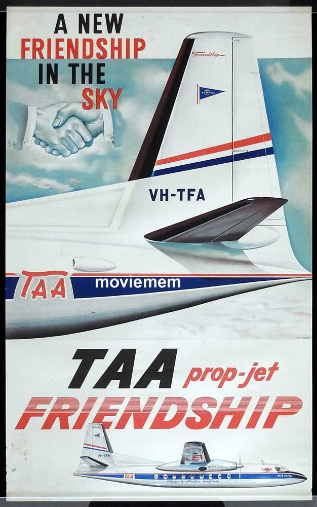 TAA Fokker Friendship Vintage AirlineTravel Poster  c.1950s