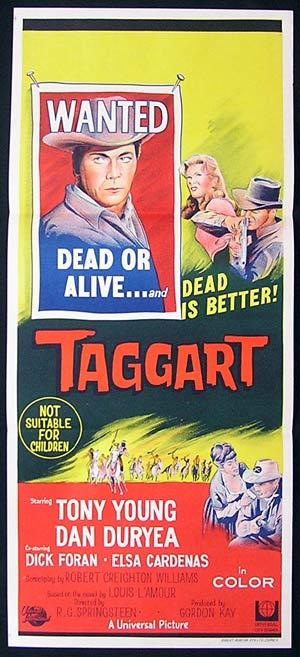 TAGGART Original Daybill Movie Poster 1964 Tony Young Dan Duryea