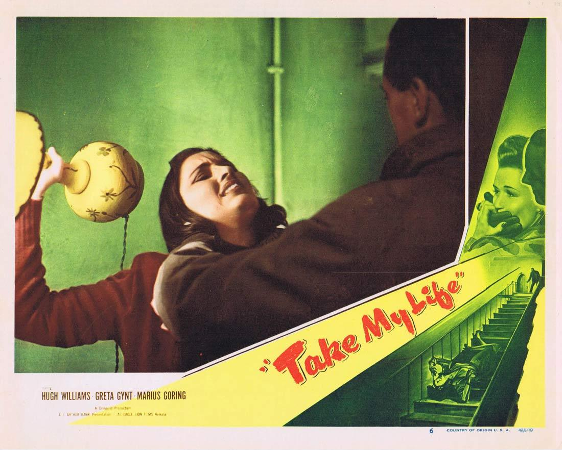 TAKE MY LIFE Original Lobby Card 6 Hugh Williams Greta Gynt Marius Goring