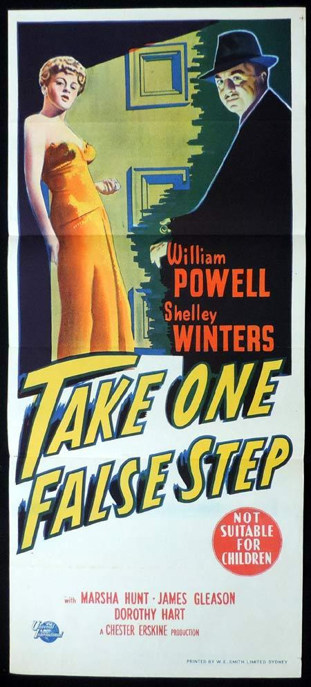 TAKE ONE FALSE STEP Original Daybill Movie Poster William Powell Shelley Winters Film Noir