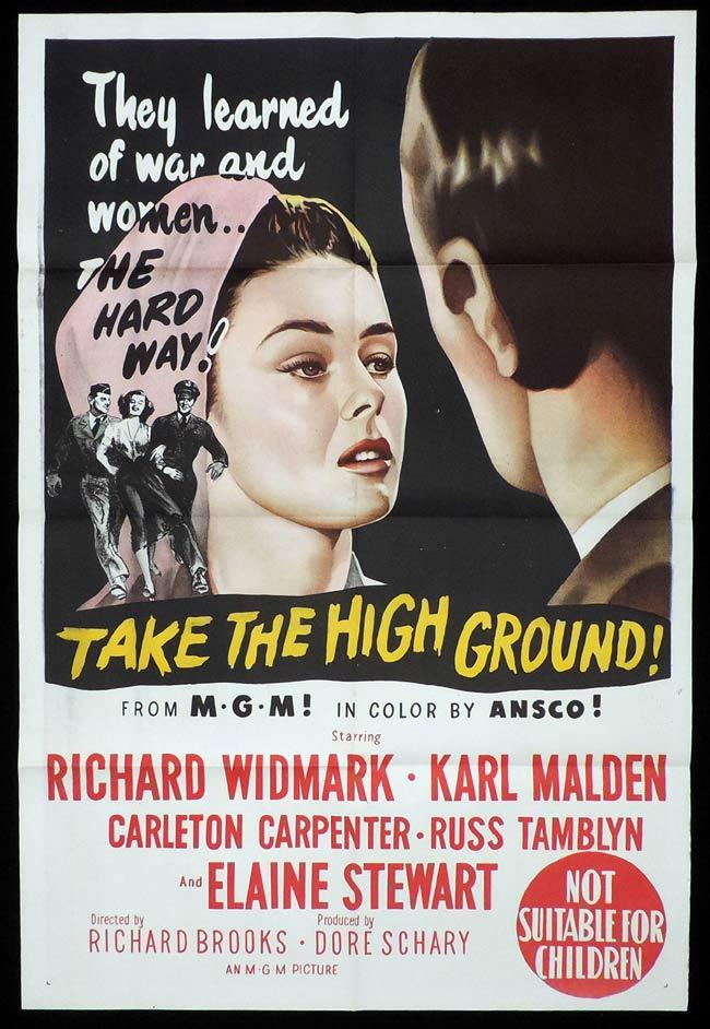 TAKE THE HIGH GROUND Original One sheet Movie Poster Richard Widmark Karl Malden