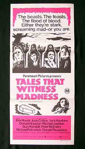 TALES THAT WITNESS MADNESS Kim Novak Joan Collins Australian Daybill Movie poster
