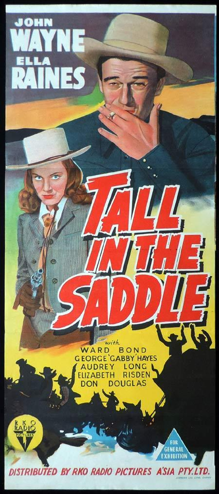 TALL IN THE SADDLE Original Daybill Movie Poster John Wayne RKO