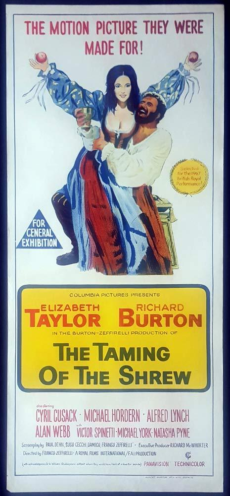 THE TAMING OF THE SHREW Original Daybill Movie Poster Elizabeth Taylor Franco Zeffirelli