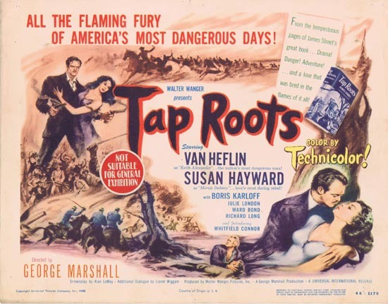 TAP ROOTS 1948 Movie Title Lobby Card Susan Hayward Van Heflin
