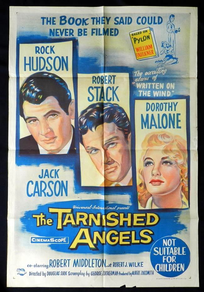 THE TARNISHED ANGELS One sheet Movie poster Rock Hudson