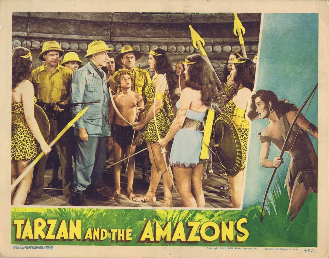 TARZAN AND THE AMAZONS Original Lobby card Johnny Sheffield Brenda Joyce
