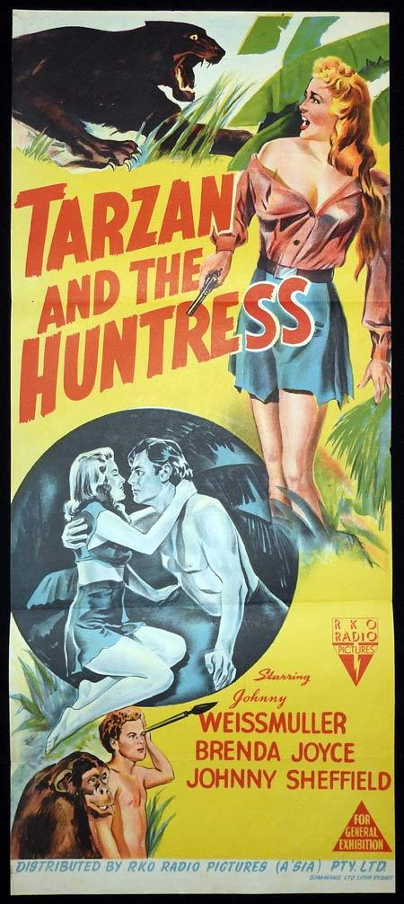 TARZAN AND THE HUNTRESS Original Daybill Movie Poster Johnny Weissmuller Brenda Joyce