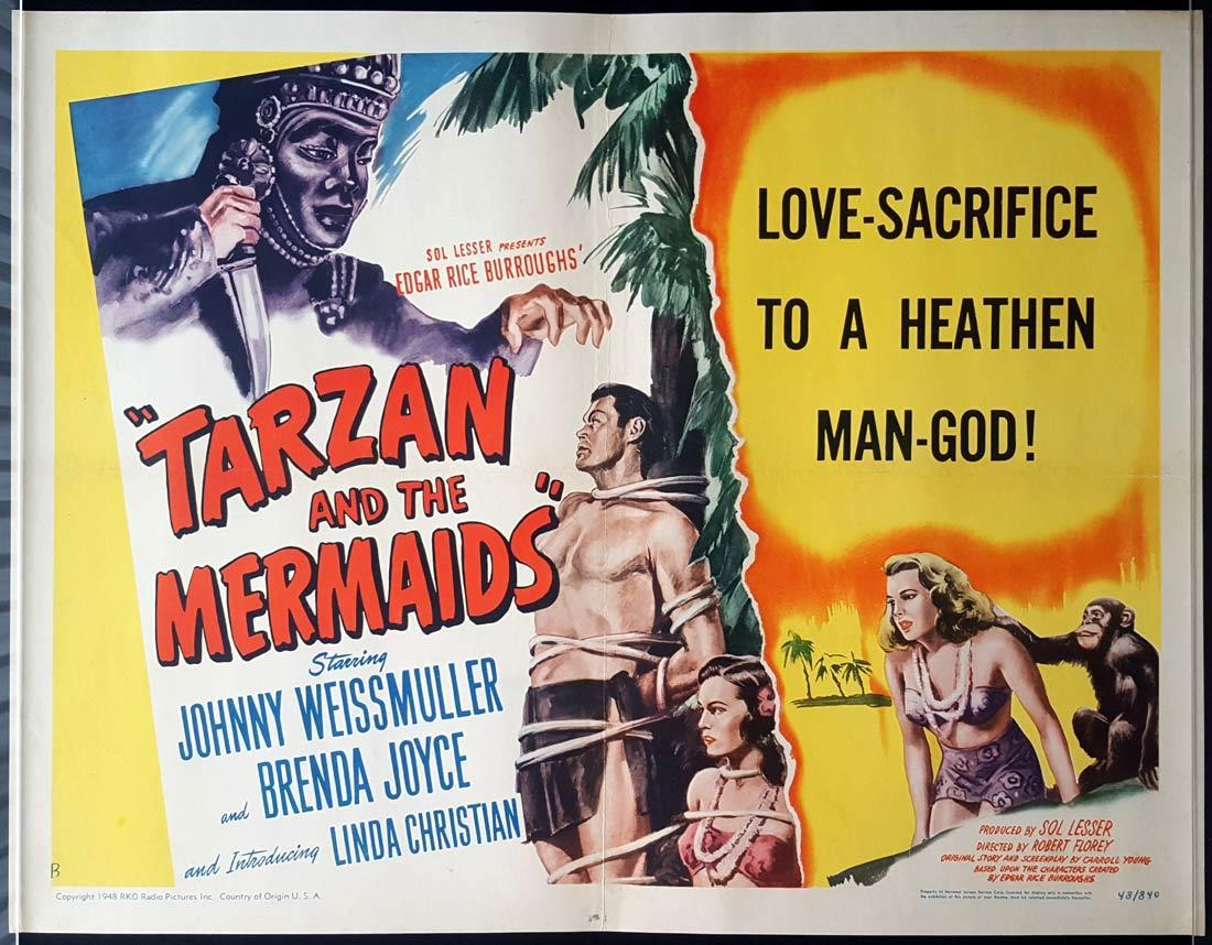 TARZAN AND THE MERMAIDS Johnny Weissmuller Brenda Joyce US HALF SHEET poster