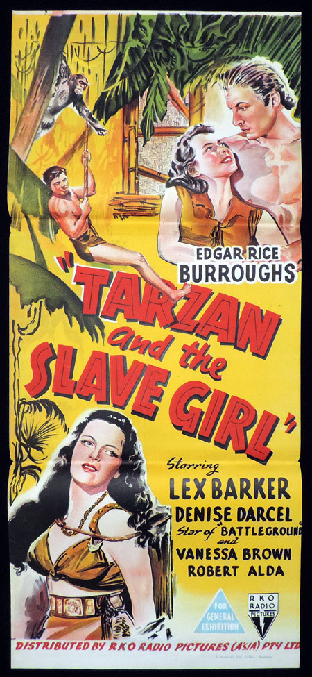 TARZAN AND THE SLAVE GIRL Original Daybill Movie poster 1950 Lex Barker