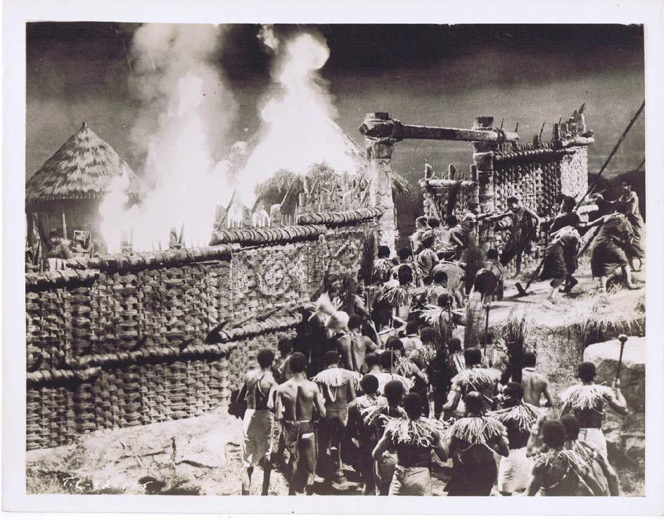 TARZAN AND THE LOST SAFARI Vintage Movie Still 21 Native Village Ablaze
