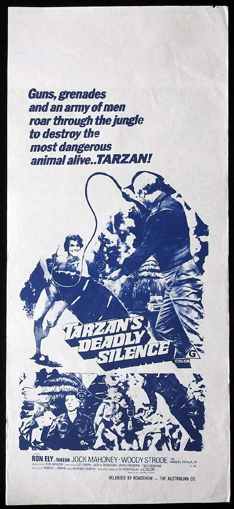 TARZAN'S DEADLY SILENCE Original Daybill Movie Poster Ron Ely Jock Mahoney