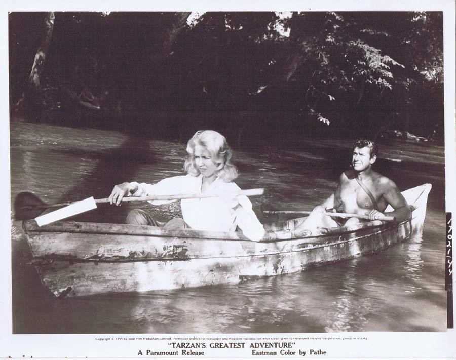 TARZAN'S GREATEST ADVENTURE Movie Still 17 Gordon Scott on the canoe