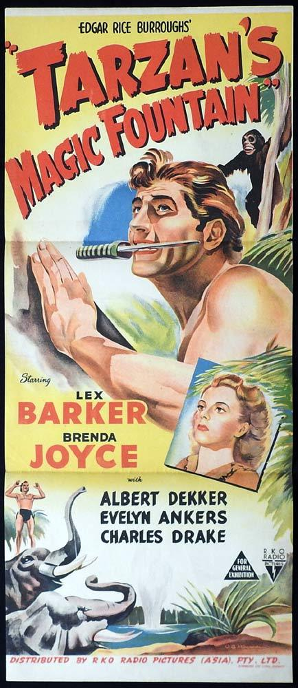 TARZAN'S MAGIC FOUNTAIN Original Daybill Movie poster Lex Barker