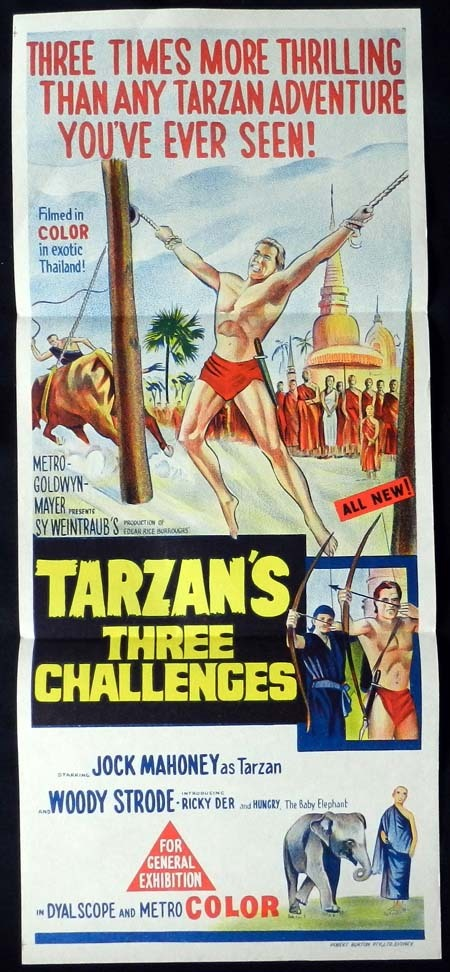 TARZAN'S THREE CHALLENGES Daybill Movie Poster 1963 Jock Mahoney