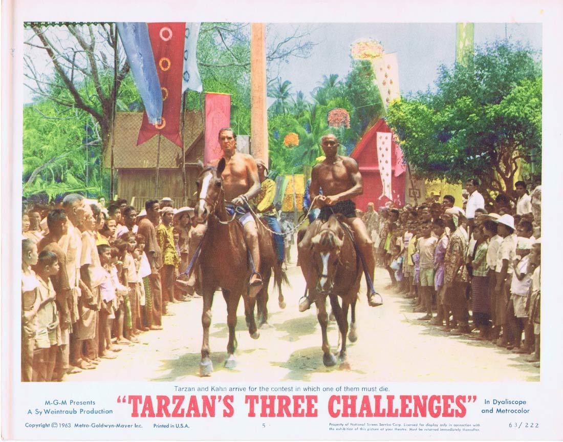 TARZAN'S THREE CHALLENGES Original Lobby Card 5  Jock Mahoney Woody Strode