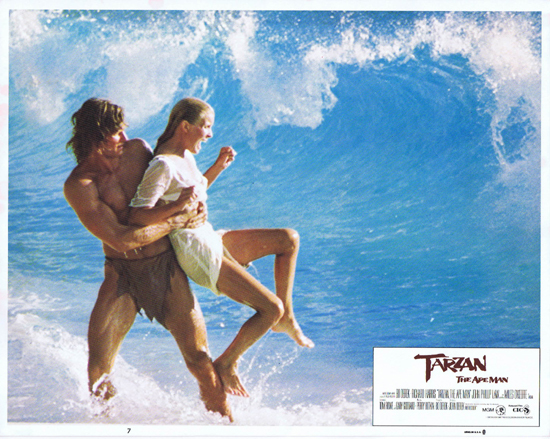 TARZAN THE APE MAN Lobby Card 7 1981 Bo Derek and Miles O'Keefe Surfing
