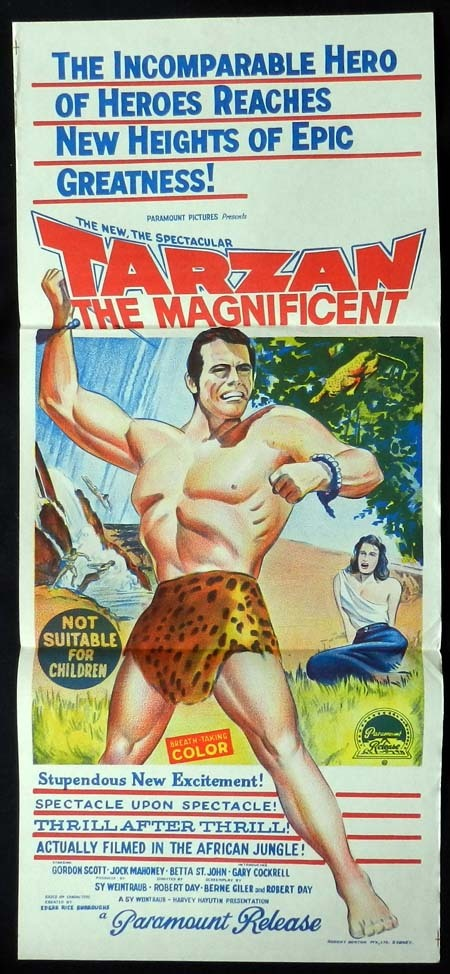 TARZAN THE MAGNIFICENT Original Daybill Movie poster Gordon Scott