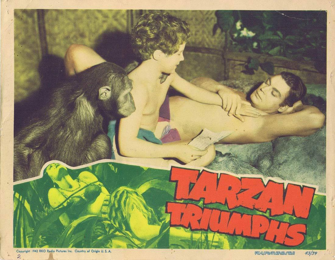 TARZAN TRIUMPHS Lobby Card 2 Johnny Weissmuller 1945
