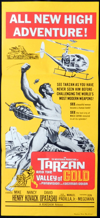 TARZAN AND THE VALLEY OF GOLD Mike Henry RARE Daybill Movie poster