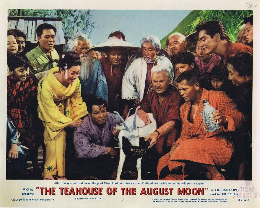 The TEAHOUSE OF THE AUGUST MOON Original Lobby Card 7 Marlon Brando Glenn Ford Machiko Kyō