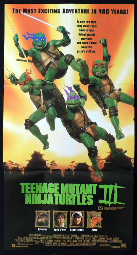 TEENAGE MUTANT NINJA TURTLES 3 ORIGINAL Daybill Movie poster