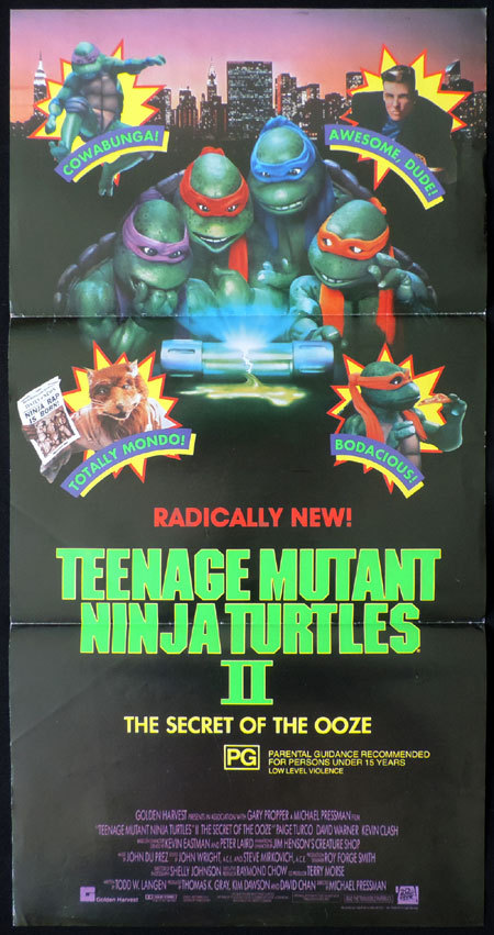 TEENAGE MUTANT NINJA TURTLES 2 Australian Daybill Movie poster