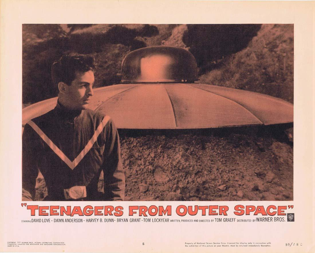 TEENAGERS FROM OUTER SPACE Lobby Card 5 Sci Fi Flying Saucer Best Card