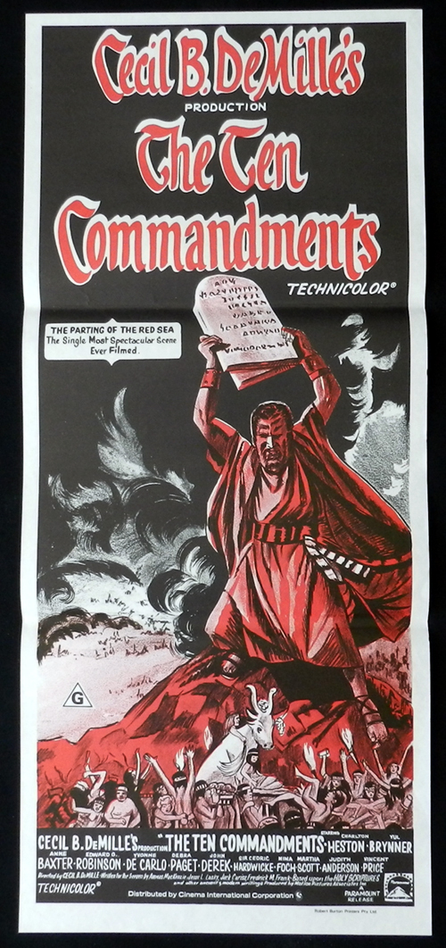 THE TEN COMMANDMENTS Charlton Heston daybill Movie poster 1970sr
