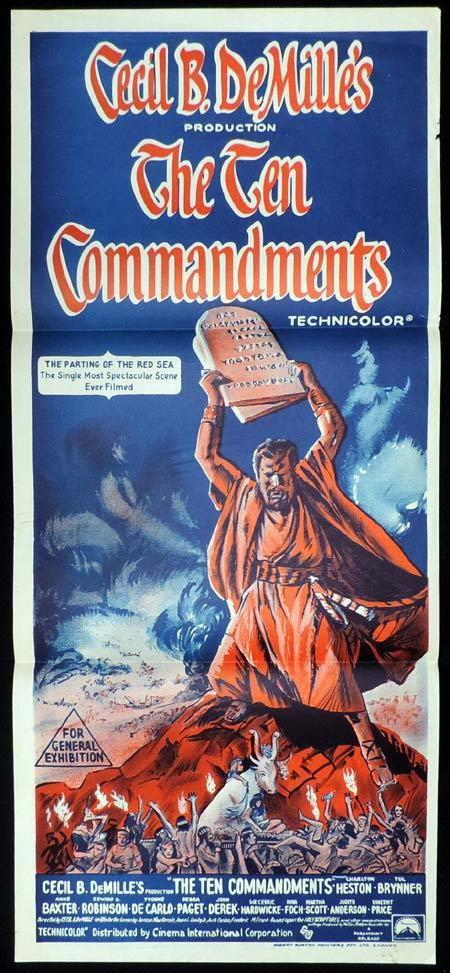 THE TEN COMMANDMENTS Original Daybill Movie Poster Charlton Heston