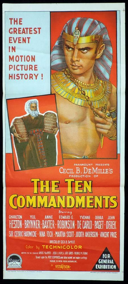 THE TEN COMMANDMENTS Original Daybill Movie Poster Charlton Heston Richardson Studio