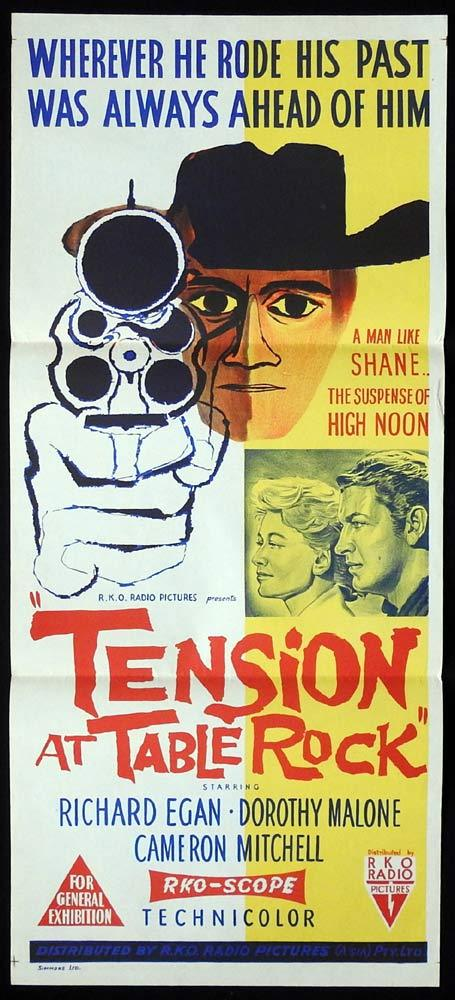 TENSION AT TABLE ROCK Original Daybill Movie Poster RKO Richard Egan Dorothy Malone