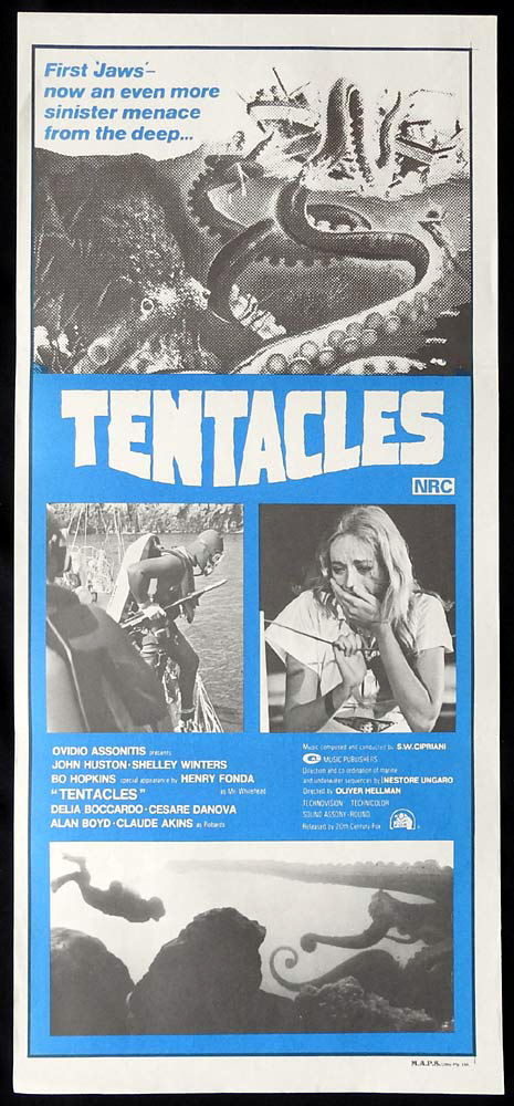 TENTACLES Original Daybill Movie Poster John Huston Shelley Winters