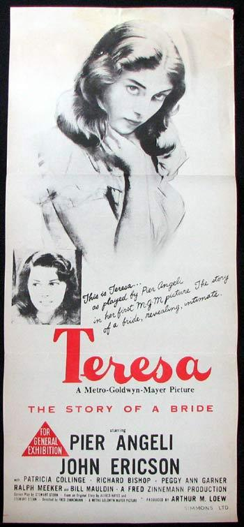 TERESA Movie poster Pier Angeli John Ericson Patricia Collinge