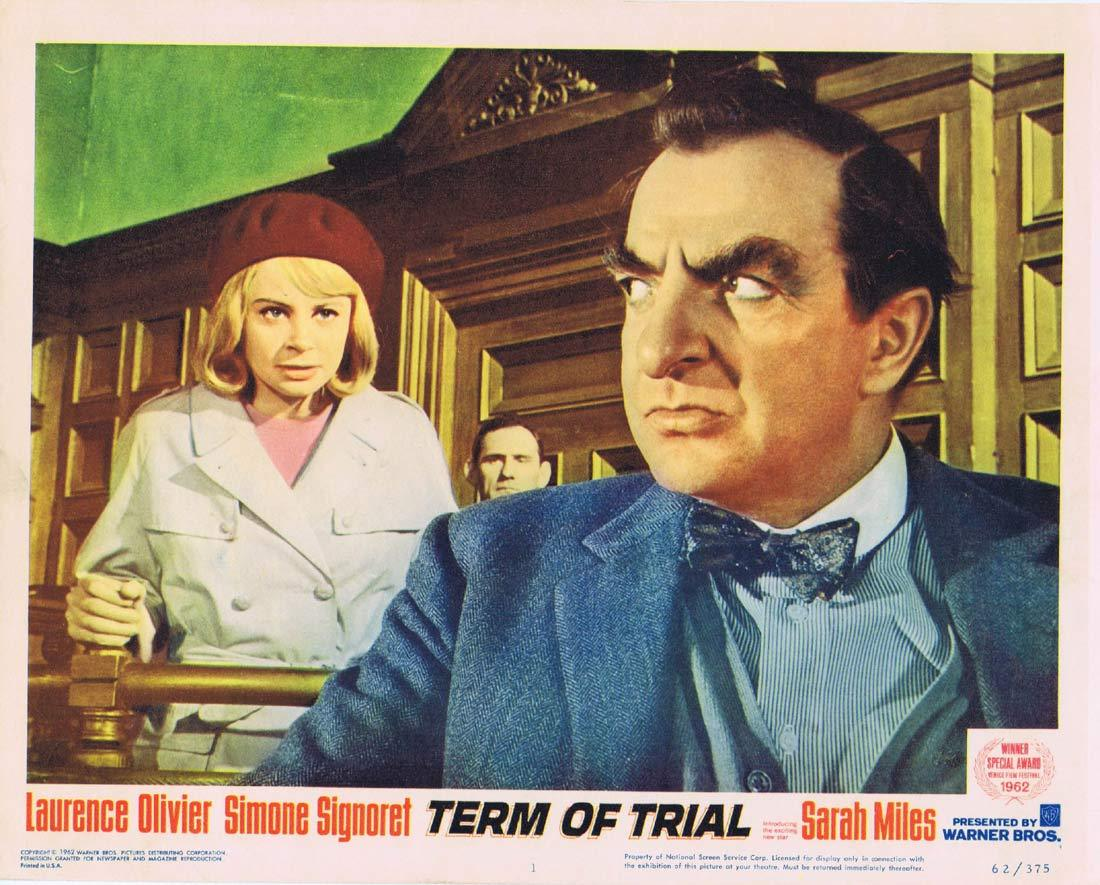 TERM OF TRIAL Lobby Card 1 Laurence Olivier Simone Signoret