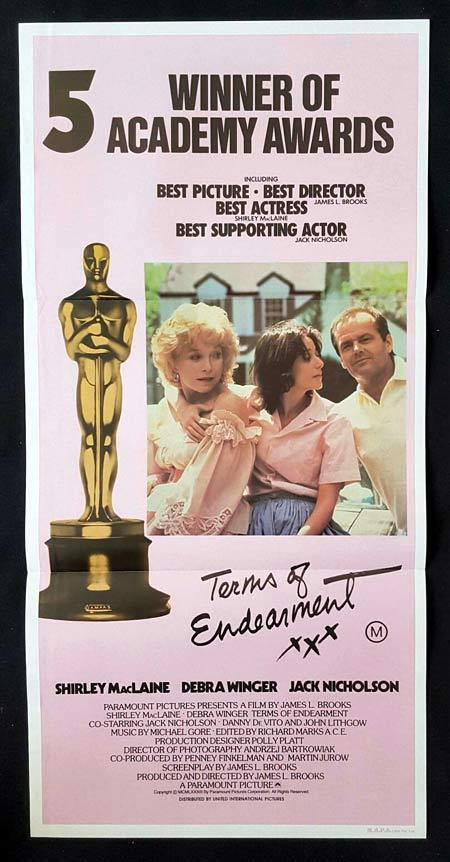 TERMS OF ENDEARMENT Daybill Movie poster Shirley MacLaine Jack Nicholson