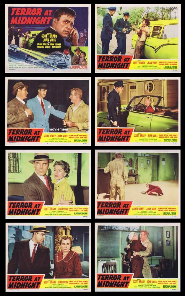 TERROR AT MIDNIGHT Original Lobby Card set Scott Brady Film Noir