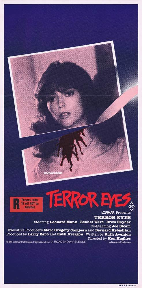 TERROR EYES Original Daybill Movie poster Rachel Ward Horror Slasher