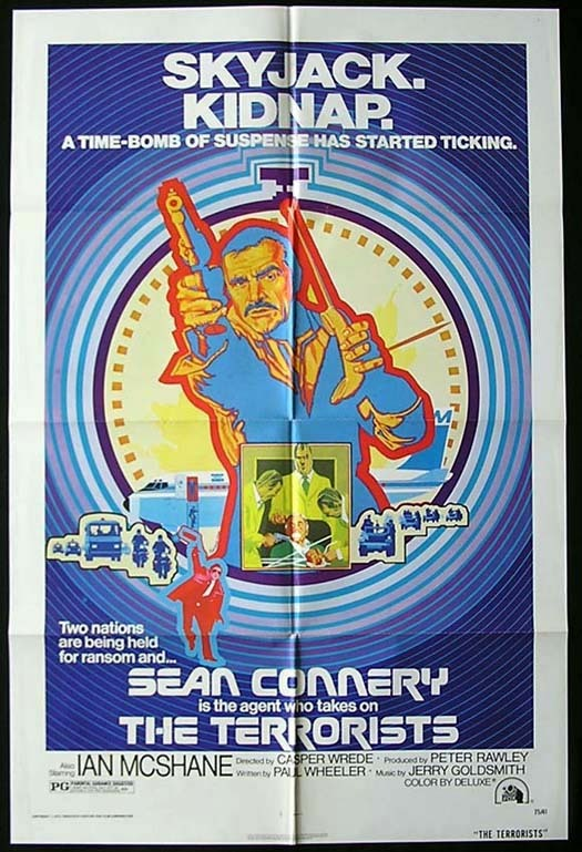 TERRORISTS Movie poster 1975 Sean Connery US One sheet Tanenbaum art